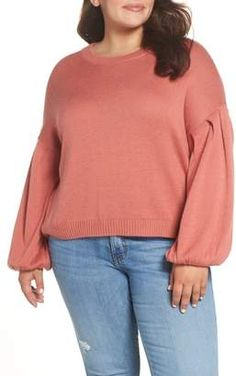Plus Size Coral Sweater Outfit - Alexa Webb Plus Size Fall Fashion, Autumn Fashion, Plus Size Distressed Jeans, Coral Sweater, Plus Size Sweaters, Sweater Outfits, Boyfriend Jeans, Fashion Looks, Pullover