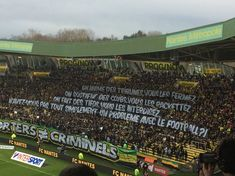 """FC #Nantes supporters' message for French FA at home to #Lilleon Sunday:   """"We bring the stands to life; you shut them. We support our clubs; you exploit them. We create displays; you ban them. Do you not have, simply put, a problem with football?""""   Sound familiar? Photo via Matt Ford. 12.02.18"""