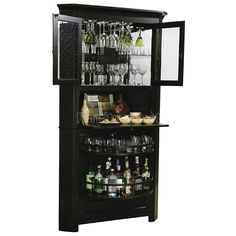 Enjoy the easy, fashionable storage of this transitional two-drawer wine and bar cabinet, wearing a worn black finish. Transitional wine and bar cabinet. Worn Black finish with brown undertones. Style # at Lamps Plus. Corner Liquor Cabinet, Home Bar Cabinet, Cabinet Ideas, Armoire Bar, Cabinet Plans, Cabinet Space, Cabinet Design, Bar Interior, Interior Design