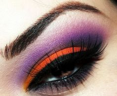 Bright orange and purple eye make up #eyes #makeup #eyeshadow not sure about the purple looove bright colors on lids