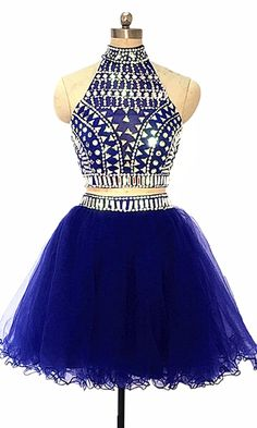 c4fda4676d02 US $129.0 |Aliexpress.com : Buy Royal Blue Two Piece Short Prom Dresses 2019  New Knee Length Formal Evening Gowns Beaded Homecoming Dress Halter robe de  ...