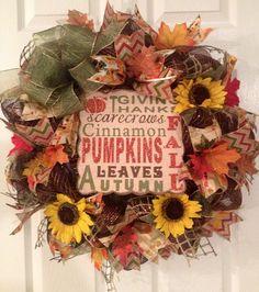 Fall/Autumn Deco Mesh Wreath on Etsy, $55.00