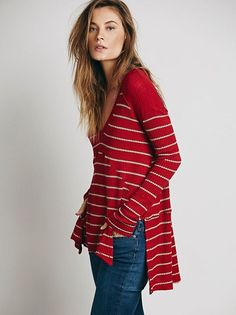 Free People Striped Sunset Park Drippy Thermal Chili Red was $68 NWT Large #FreePeople #KnitTop