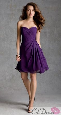 A line Sweetheart Knee Length Chiffon Bridesmaid Dresses - Bridesmaid Dresses - Bridesmaid Dresses - Weddings - CDdress.uk