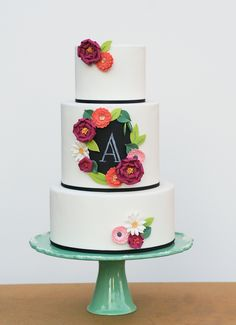 Erica O'Brien Cakes: I just love how clean white and simple black of the fondant is contrasted by the chunky, colorful flowers.