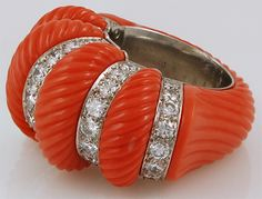 CARTIER Diamond and Coral Ring, 1930's
