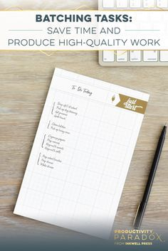 Productivity Paradox Batching Tasks: Learn How To Save Time AND Produce High-Quality Work no matter what your to-do list looks like! Work Productivity, Time Management Skills, Project Management, Planner Organization, Organizing, How To Stop Procrastinating, You Better Work, Do Your Best, Paradox