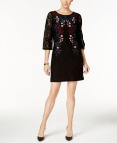 Charter Club Petite Embroidered Lace Dress, Created for Macy's - Black P/XL