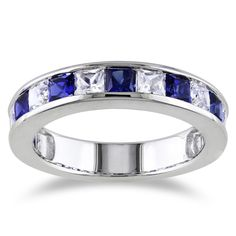 Miadora Sterling Silver 2 1/3ct TGW Square-cut Created Blue and Sapphire Stackable Anniversary Band Ring