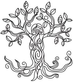 Embroidery Designs at Urban Threads - Tree Goddess Colouring Pages, Adult Coloring Pages, Coloring Books, Free Coloring, Kids Coloring, Embroidery Designs, Hand Embroidery, Embroidery Stitches, Arte Obscura
