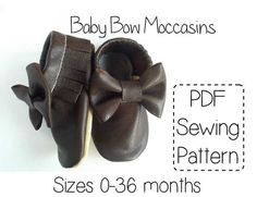 Instant download PDF sewing pattern and full tutorial for fringed baby bow moccasins. Create your own cute, comfy and stylish baby and toddler