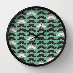 Mustache Life 2 Wall Clock by Lilach Oren