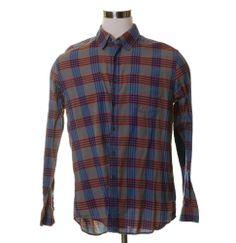 GAP Brown Blue Red Plaid Light TWILL Cotton Button Indie Shirt XL