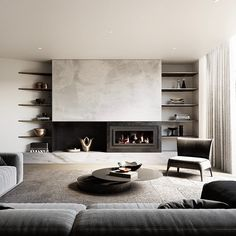 Living room fireplace design lux and beautiful Living Room Tv, Living Room Remodel, Living Room Interior, Home Interior Design, Interior Architecture, Living Spaces, Contemporary Fireplace Designs, Modern Contemporary, Home Fireplace