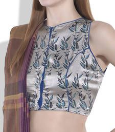 Buy ivory brown pure satin blouse crop-top online