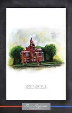 Ventress Hall 11x17 print | The Oxford, MS Collection $20