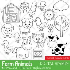 Farm Animals Digital Stamps by pixelpaperprints on Etsy, $5.00