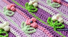 Crochet Puff Flower stitch Diagram + step by step instructions MyPicot | Free crochet patterns