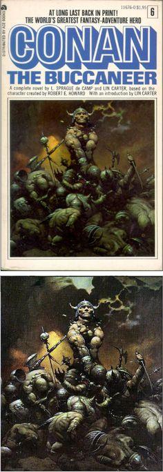 FRANK FRAZETTA - Conan the Buccaneer by L. Sprague de Camp & Lin Carter - 1977 Ace Books - cover by isfdb