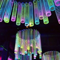 Glow In The Dark Decoration Ideas neon flagging tape on hulla hoop, glow party decoration fnid more