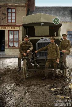 WW1. Dennis 3-ton lorry, Royal Army Service Corps. Colour by Memento.