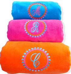 Monogrammed Beach Towel Premium Quality Velour by MonogramWorks, $24.99