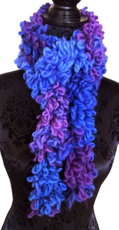 #Loopy #Boa #Scarf in #Purples and #Blue, #Handmade Scarf, #Fun Scarf, #Children's Scarf, #Women's #Accessory, #Fashion #Scarf #Wool Blend by #TwistedKnitsbySuze, $20
