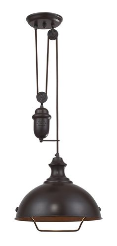 Ulucan 1-Light Oiled Bronze Pendant - Pulley Pendant Lights - Type/ Style
