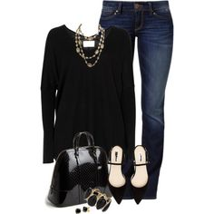 Black with denim, created by mommygerloff on Polyvore