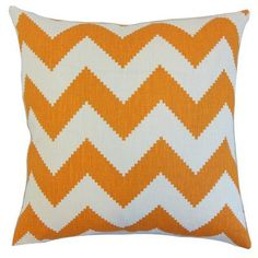 The Pillow Collection Maillol Zigzag Linen Throw Pillow Cover Color: