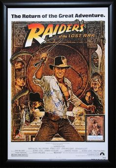 Indiana Jones and the Raiders of the Lost Ark - Signed Movie Poster in Wood Frame with COA
