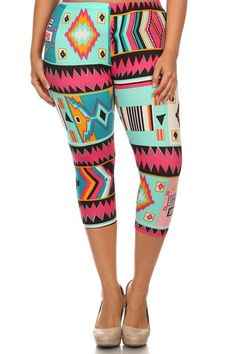 Retro Design Plus Size Capri Leggings – Niobe Clothing