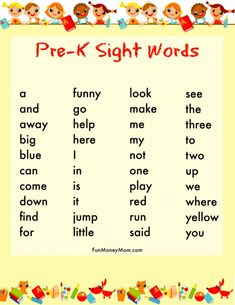 How To Get Your Child Ready For Kindergarten: Sight Words for Preschool activities preschool at home Pre K Sight Words, Preschool Sight Words, Preschool At Home, Preschool Kindergarten, Kindergarten Sight Words List, Preschool Crafts, Learn To Read Kindergarten, Preschool Ideas, Preschool Parent Board