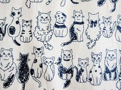 Japanese Cotton Canvas Fabric  Cats on Natural  by theheydayshop