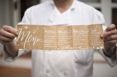 Menu concertina - white text on natural paper