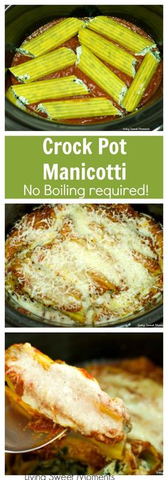 Crock Pot No Cook Manicotti - delicious ricotta spinach manicotti made in the slow cooker! A perfect easy vegetarian dinner idea that preps in no time. More crock pot recipes at livingsweetmoment. via instapot recipes dinners,recipes cooking Crock Pot Slow Cooker, Crock Pot Cooking, Slow Cooker Recipes, Easy Crock Pot Meals, Cooking Pork, Cooking Games, Cooking Recipes, Crock Pot Recipes, Crock Pot Manicotti Recipe