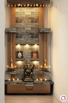 How to Ace-Up Mandir Design And Pooja Rooms Pooja Room Door Design, Home Room Design, Home Interior Design, Living Room Designs, Washroom Design, Foyer Design, Temple Room, Home Temple, Temple Design For Home