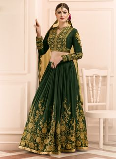 Buy Sterling Green A Line Lehenga Choli, Online #lehenga #lehengacholi #weddinglehenga #festiveseason
