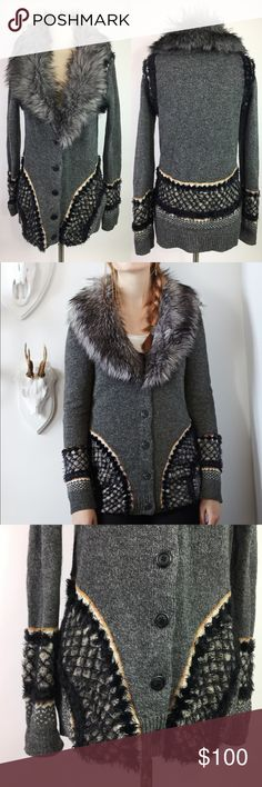 "Sleeping on Snow Corby Lodge Sweater Perfect condition!  Pit to pit: 19"" + has stretch too  Length: 29""   Description from Anthropologie site:  We love a sweater than knows how to cozy up. Complete with a removable faux- fur collar, Sleeping on Snow's embroidered cardi was made for firesides and hayrides.   By Sleeping on Snow  Removable faux fur collar  Button front  Wool, nylon, cotton, acrylic, polyester  Hand wash Anthropologie Sweaters Cardigans"
