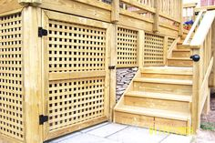 lattice underpinning ideas | Latticework-PT wooden square privacy lattice skirting with acess gate ...