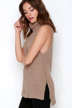 JOA I Got You Babe Brown Sleeveless Sweater at Lulus.com!