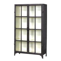 Metalen wandkast met twee openslaande deuren uit de collectie van New Routz. Buitenkant in zwart, binnenkant in wit.H150 x B88 x D36 cm.