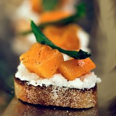 Butternut Squash, Ricotta, and Sage Crostini- the perfect Fall appetizer!