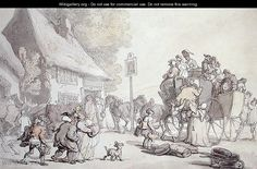 Outside the Inn    by Thomas Rowlandson
