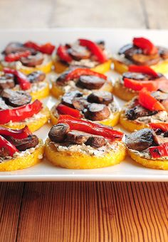 These Polenta Pizzas are a great appetizer or light meal, and so easy!