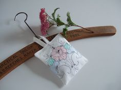 Lavender bag made from pastel vintage embroidery, with Yorkshire lavender £4.50
