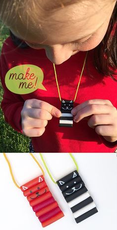 Macaroni Cat Necklaces - simple painted pasta crafts for kids // MollyMooCrafts.com for @pbsparents
