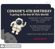 Astronaut in Space birthday invitation, printable diy download