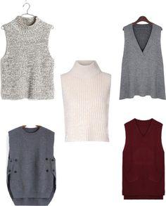 1. Madewell Veranda Sleeveless Sweater, $78; 2. Cream Turtle Neck Vest, £24 (approx. $34 USD); 3. Plus Size Asymmetric Sleeveless V Neck Sweater, $25; 4. Grey Round Neck Buttons Knit Sweater, $17; 5. Women Pockets Solid Sleeveless V Neck Knit Vest Sweater, $12 AUD (approx. $8 USD)