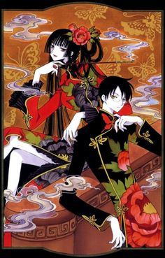 Yuuko and Watanuki from xxxHOLiC  Great show. I love CLAMP works... Yuuko is one of my favorite characters... want to cosplay her someday...
